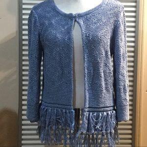 RUBY RD. FAVORITES XL boho fringe cardigan sweater